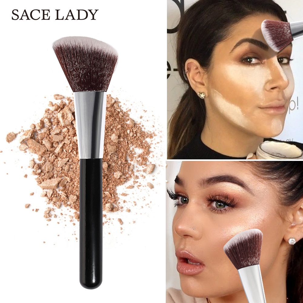 [해외]SACE LADY Professional Makeup Brush for Highlighter Bronze Powder Face Contour Brush Blush Make Up Tool Brand Angled Cosmetic/SACE LADY Profession