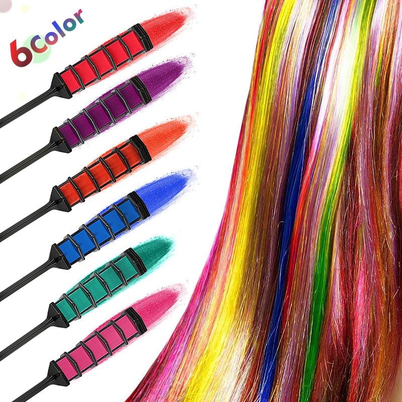 [해외]6pcs 개인 ??살롱 미니 헤어 염료 빗 일회용 크레용을 사용하기 쉬운 회색 보라색 빨간색 헤어 컬러 분필 헤어 염색 도구 TSLM2/6pcs Personal Salon Easy To Use Mini Hair Dye Comb Disposable Crayons