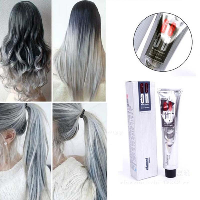 [해외]일회성 스모키 그레이 펑크 스타일 라이트 그레이 실버 할머니 그레이 헤어 염색 유니 컬러 왁스 염색 크림/One-time Smoky Gray Punk Style Light Grey Silver Grandma Gray Hair Dye Color UniColor H