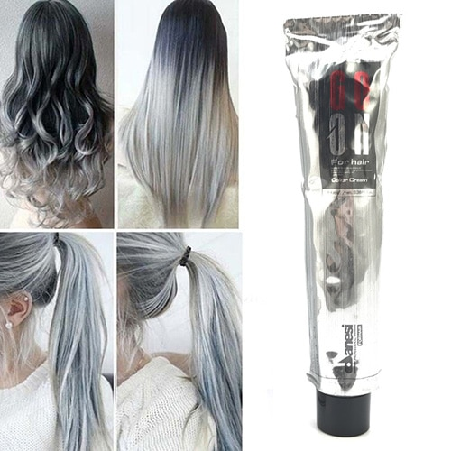 [해외]1Pc 100Ml Fashion Light Gray Color Natural Permanent Super Hair Dye Cream Store/1Pc 100Ml Fashion Light Gray Color Natural Permanent Super Hair Dy