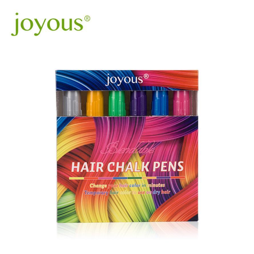 [해외]Joyous 2018 6 Colors Set Temporary Hair Color Hair styling Metal Color Crayons One-time Hair Dye Pen Hairdressing Dropshipping/Joyous 2018 6 Color