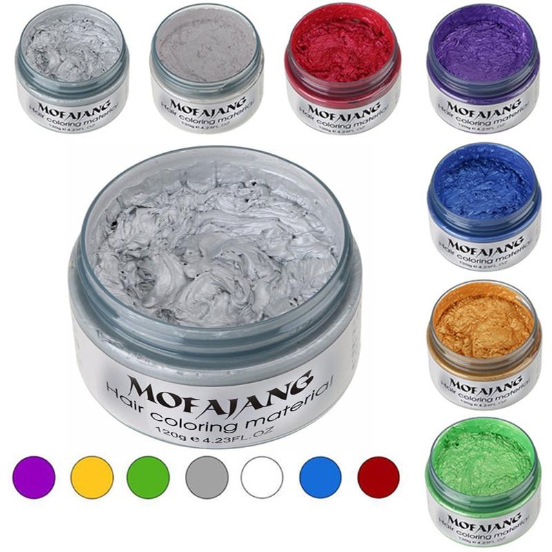 [해외]MOFAJANG Hair Color Styling Promades Wax Silver Ash Grey Strong Hold Temporary Hair Dye Gel Mud Easy Wash Hair Coloring Wax 120g/MOFAJANG Hair Col