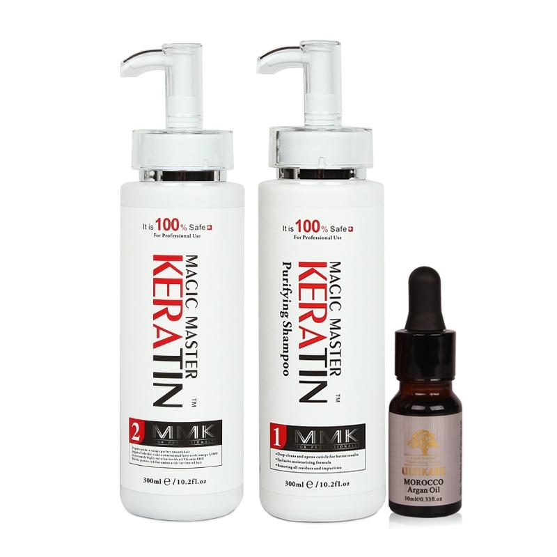 [해외]/New Products Without Formalin Professional Repair Damaged&Straighten Hair 300ml Magic Master Keratin+Purifying Shampoo+Argan Oil