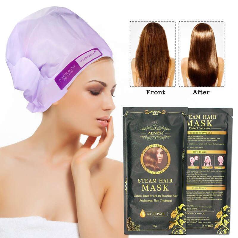 [해외]Automatic Heating Steam Mask Magic Care Mask Repair Damage Recovery Soft Nourishing Keratin Moroccan Olive Essence Care Hair/Automatic Heating Ste