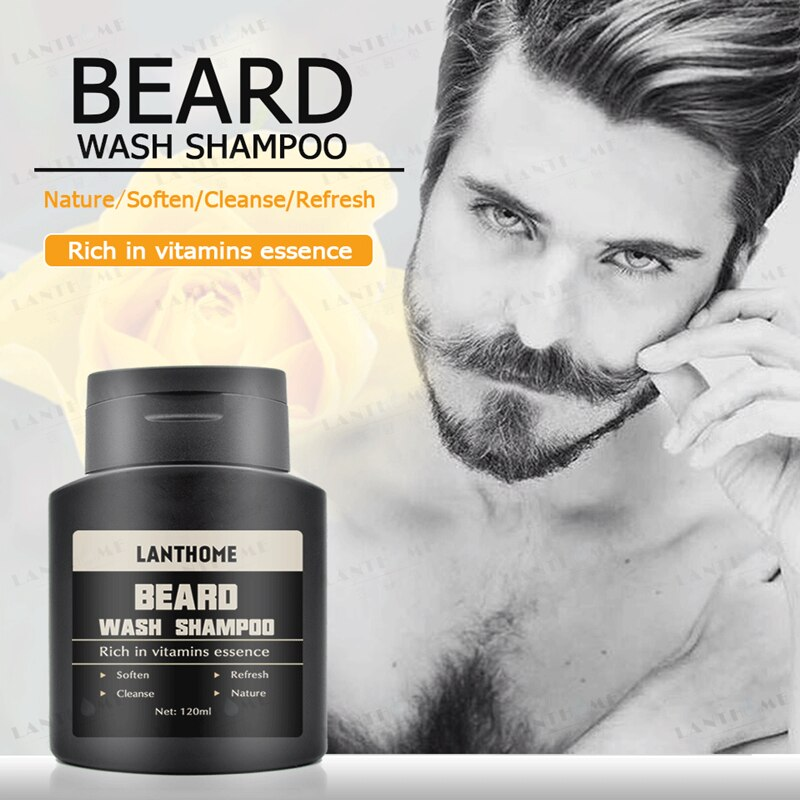 [해외]/Lanthome Organic Beard Wash Professional Hair Shampoo 120ML Moisturiser Deep Cleansing Grooming Care Smooth Beard & Facial Hair