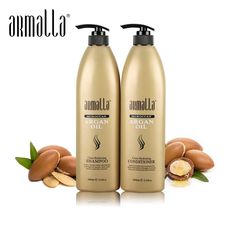 Armalla 1000ml 모로코 아르간 오일 클리어 하이 드레이팅 샴푸 + 1000ml 컨디셔너 헤어 샤인 부드러운 무료 배송