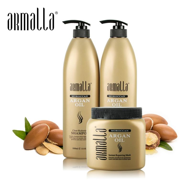 Armalla 1000ml 모로코 아르간 오일 Profissional Natural Shampoo + 1000ml 컨디셔너 + 500ml 헤어 마스크 리페어 모이스춰 라이징 데미지