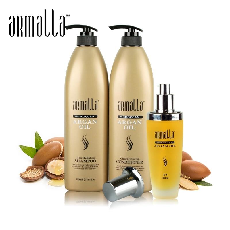 뜨거운 판매 Armalla 1000ml 전문 모로코 아르간 오일 클리어 하이 드레이팅 샴푸 + 1000ml 컨디셔너 + 100ml 아르간 오일 무료 배송