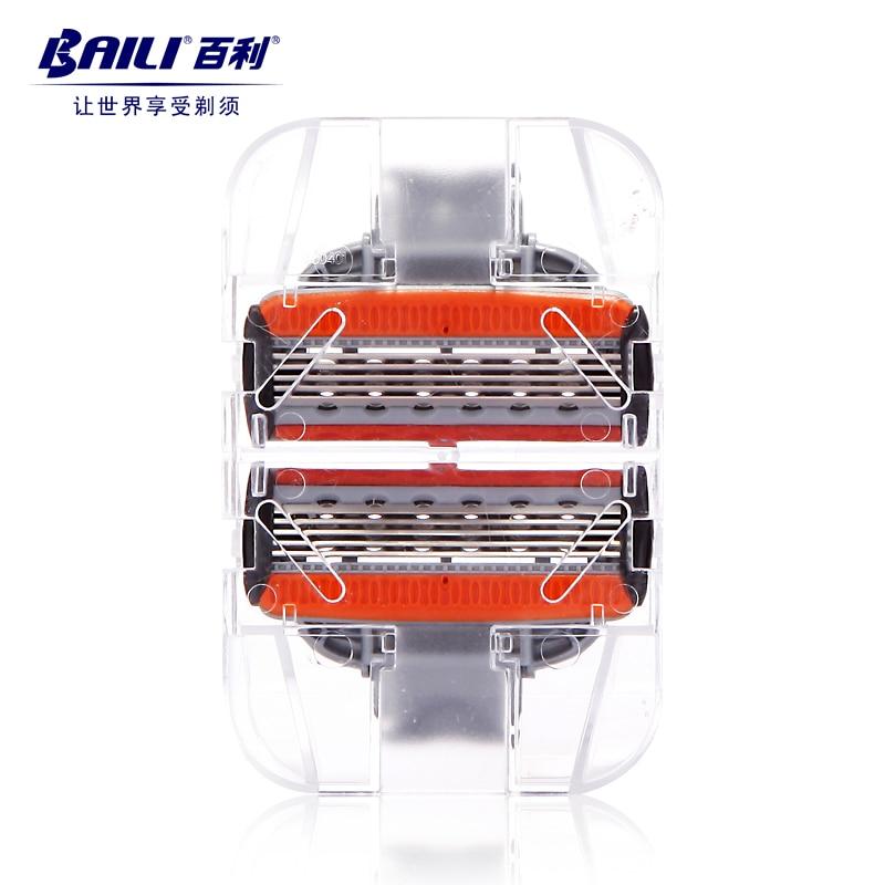 [해외]BAILI 2pcs 남자의 수동 이발사 5 레이어 안전 면도기 면도날 면도날 카트리지 리갈 시리즈 BP502에 대 한/BAILI 2pcs Men`s Manual Barber 5 Layer Safety Shaver Shaving Razor Blades Cartri