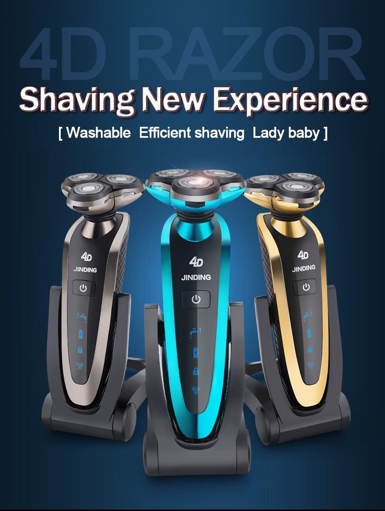 [해외]?JINDING 방수 3D 플로팅 헤드 전기 면도기 재충전 용 수염 트리머 자동 면도기 WholeBody Washing Shver/ JINDING Waterproof 3D Floating head Electric Shaver Rechargeable beard t