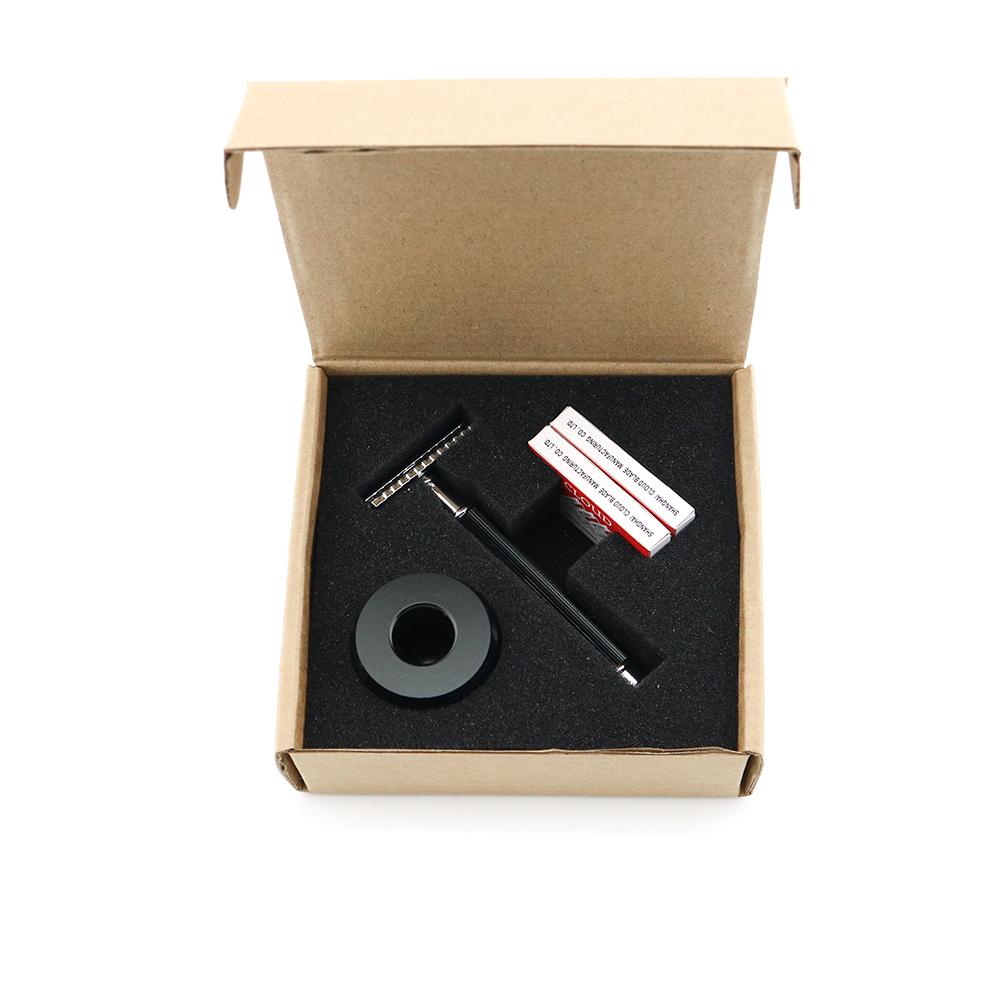 [해외]Double Edge Safety Razor Shaving Razor Black Handle Manual Razor Classic Style Anti Slip handle Wholesale 8SET/LOT Lyrebird NEW/Double Edge Safety