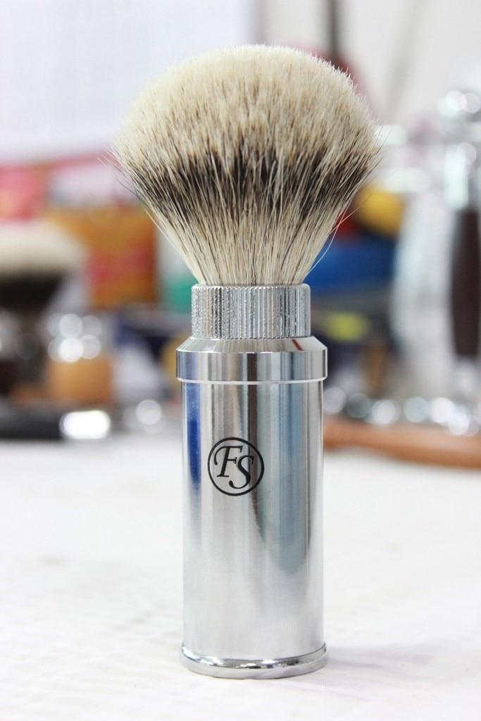 Fs-# FREB-09, 크롬 여행용 면도 브러쉬, 100% silvertip badger hair with chrome handle, 매듭 21mm + 무료 배송