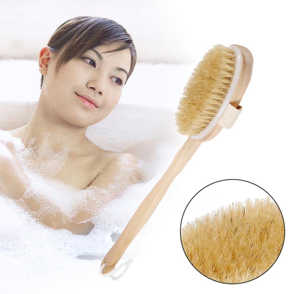 [해외]새로운 42 x 7cm 자연 롱 손잡이 목재 브러시 나무 몸체 브러시 마사지 욕조 샤워 브러쉬 뒤 스파 스크러버  제거/New 42 x 7cm Natural Long Handle Wood Brush Wooden Bristle Body Brush Massager