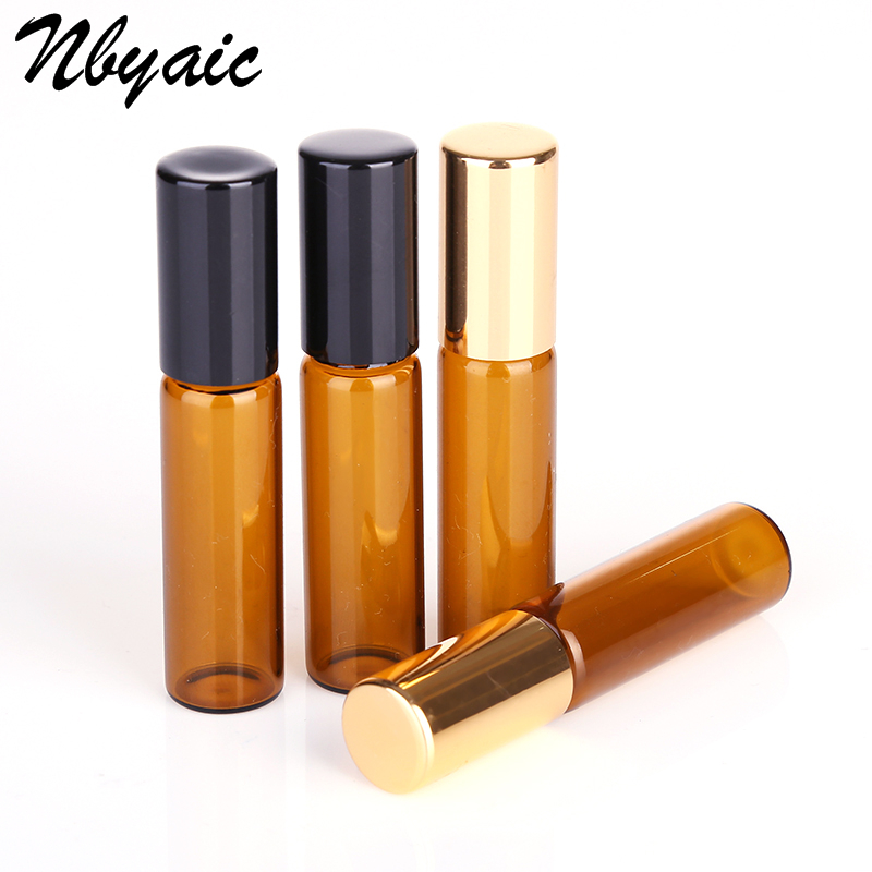 [해외]1ML 2ML 3ML 5ML 10ML Amber Roll On Roller Bottle for Essential Oils Refillable Perfume Bottle Deodorant ContainersGold lid/1ML 2ML 3ML 5ML 10ML Am