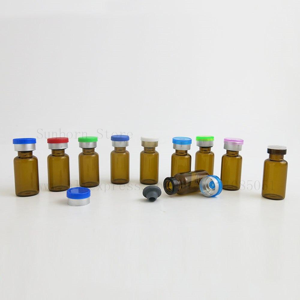 [해외]Small Amber Clear Glass Injection Bottle Vial Flip Off Cap 3ml 3cc Transparent Liquid Medicine Bottle Containers 50pcs/Small Amber Clear Glass Inj