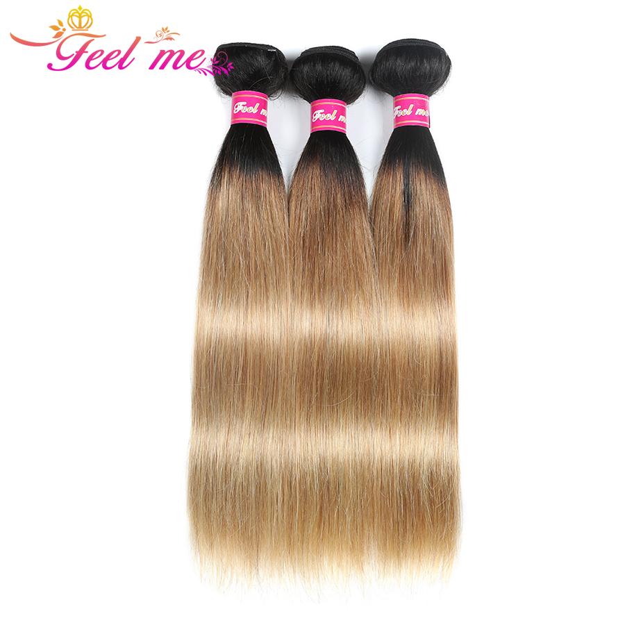 [해외]Feel Me Hair 말레이시아 스트레이트 헤어 3 번들 1b / 27 헤어 익스텐션 Blonde Bundles 옹 브르 헤어 위브 번들 특가 Non-remy/Feel Me Hair Malaysian Straight Hair 3 Bundles 1b/27 Hai