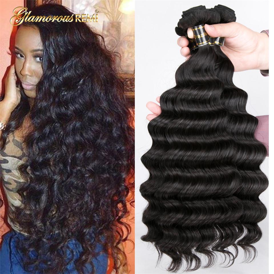 [해외]브라질 머리카락 묶음 느슨한 딥 웨이브 100 % 인간의 머리카락 확장 레미 헤어 1/3/4 번들 내츄럴 컬러 더블 위사 헤어 위브/Brazilian Hair Bundles Loose Deep Wave 100% Human Hair Extensions Remy H