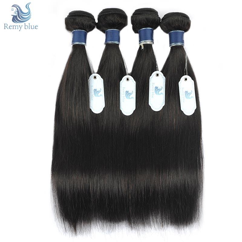 [해외]레미 블루 브라질 스트레이트 헤어 4 번들 100 % 자연 색 인간의 머리카락 직조 연장 레미 헤어 위단 번들 번짐 및 흘림 없음/Remy Blue Brazilian Straight Hair 4 Bundles 100% Natural Color Human Hair