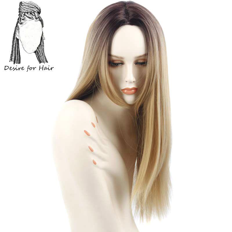 머리카락에 대 한 욕망 1 pc 26 inch 긴 ombre ombre 27 # 색상 실키 스트레이트 내열성 합성 가발 여성을위한