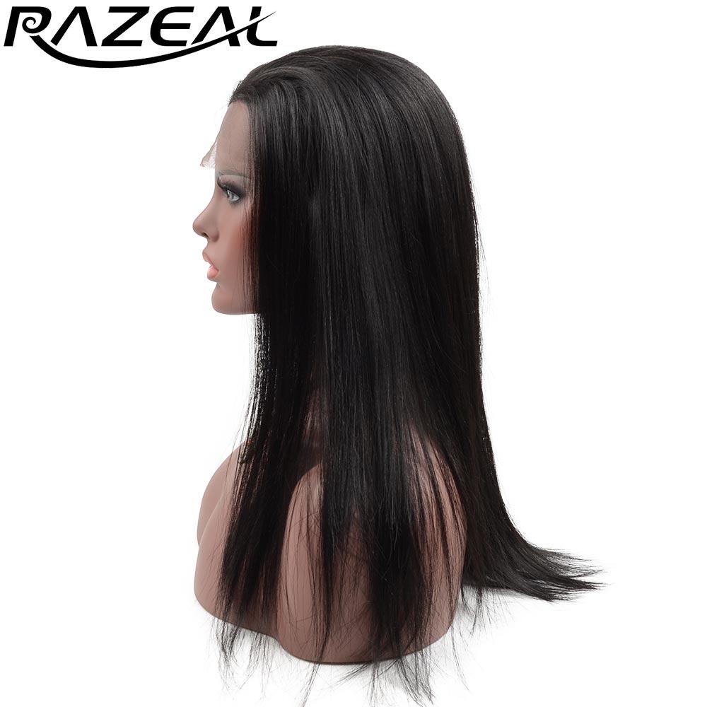 Razeal 자연 블랙 실키 스트레이트 가발 무료 이별 glueless 합성 레이스 프런트 가발 내열성 섬유