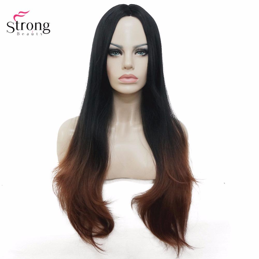 [해외]StrongBeauty Women & s Auburn Ombre 검은 긴 물결 모양의 자연 가발 합성 내열성 섬유 전 가발/StrongBeauty Women&s Auburn Ombre Black Long Wavy Natural Wig Synthetic H