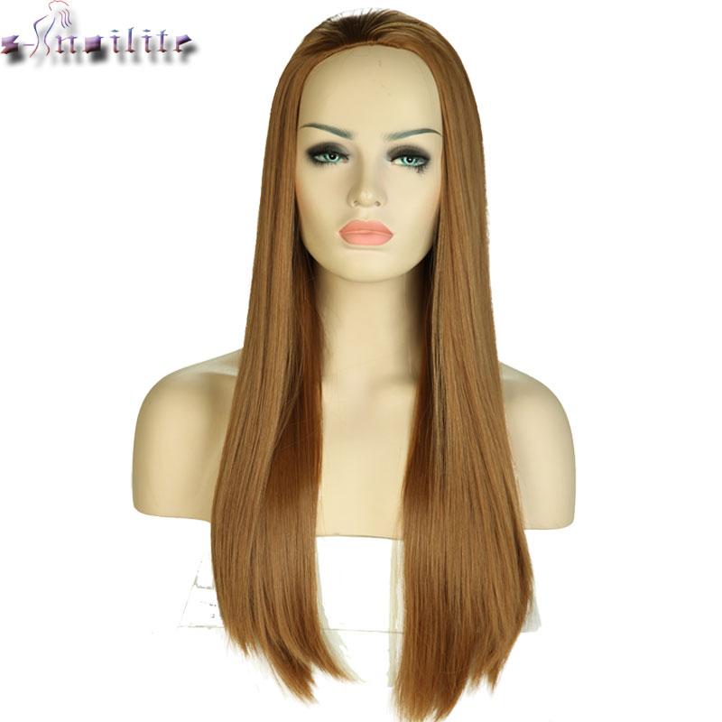[해외]S-noilite 긴 300g 여성을절반 헤어 가발 합성 가발 검은 갈색 금발 내열성 가짜 헤어 조각 여성 헤어 스타일/S-noilite Long 300g Half Hair Wigs For Women Synthetic Wigs Black Brown Blonde