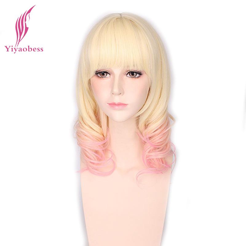 [해외]Yiyaobess 합성 매체 곱슬 가발 코스프레 여성을열 저항 16inch 금발 핑크 옹 브이 가발/Yiyaobess Synthetic Medium Curly Wig Cosplay Heat Resistant 16inch Blonde Pink Ombre Wigs