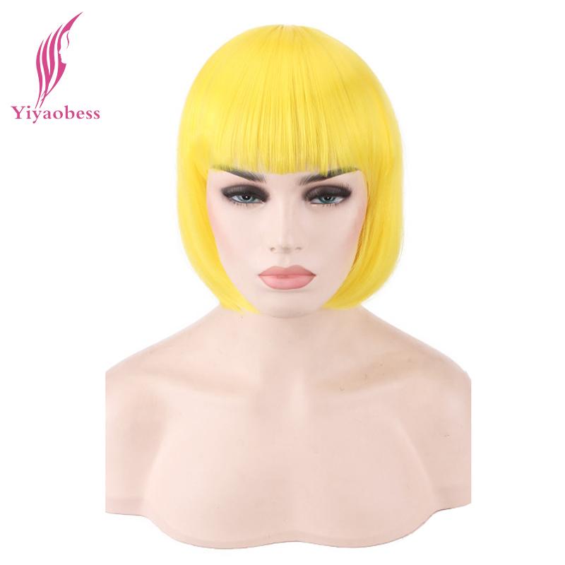 [해외]Yiyaobess 합성 짧은 스트레이트 옐로우 핑크 그린 블루 화이트 레드 금발 그레이 브라운 블랙 밥 WigBangs 코스프레 여성/Yiyaobess Synthetic Short Straight Yellow Pink Green Blue White Red Blo