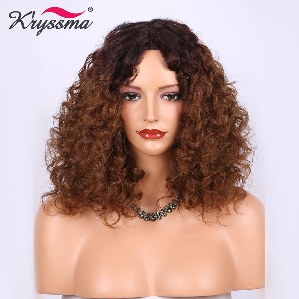 [해외]여성을짧은 곱슬 합성 머리의 가발 중간 갈색에서 밝은 갈색 옹버 가발 무력 전체 기계 내열 섬유를 만든/Short Curly Synthetic Hair Wigs for Women Medium Brown to Light Brown Ombre wig Glueless