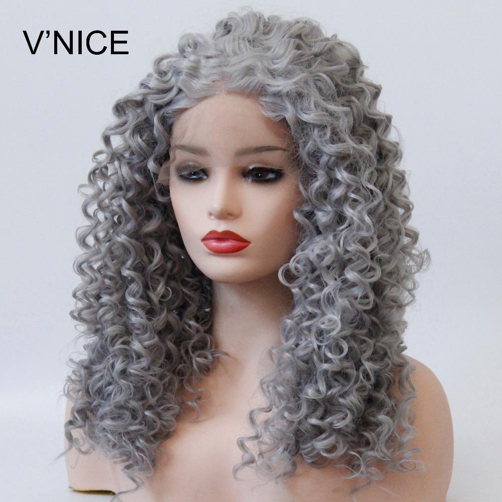 [해외]V & NICE 그레이 곱슬 머리 곱슬 합성 레이스 프론트 가발 내열성 천연 헤어 라인 아프리카 계 미국인 여성용 회색 곱슬 가발/V&NICE Gray Kinky Curly Synthetic Lace Front Wig Heat Resistant Natur