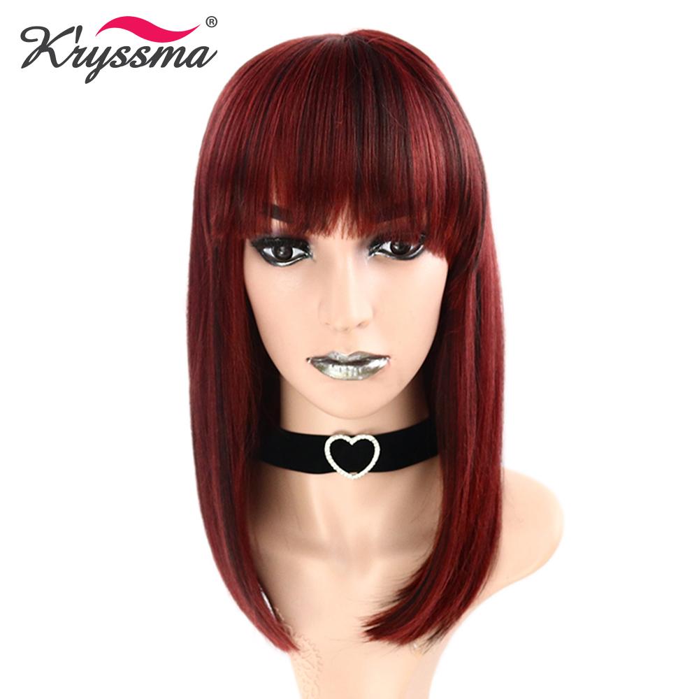 [해외]여자를진한 빨강 합성 머리 가발 파티를똑 바른 짧은 바브 WigsBangs Glueless 내열성 섬유 기계는 만들었다/Dark Red Synthetic Hair Wigs for Women Straight Short Bob WigsBangs for Party G