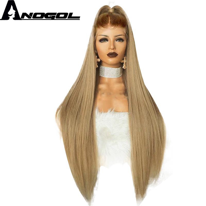 [해외]Anogol 고온 섬유 Peruca 롱 스트레이트 합성 머리 가발 갈색 Ombre 애쉬 금발 스위스 레이스 프론트 가발 코스 프레에 대한/Anogol High Temperature Fiber Peruca Long Straight Synthetic Hair Wig