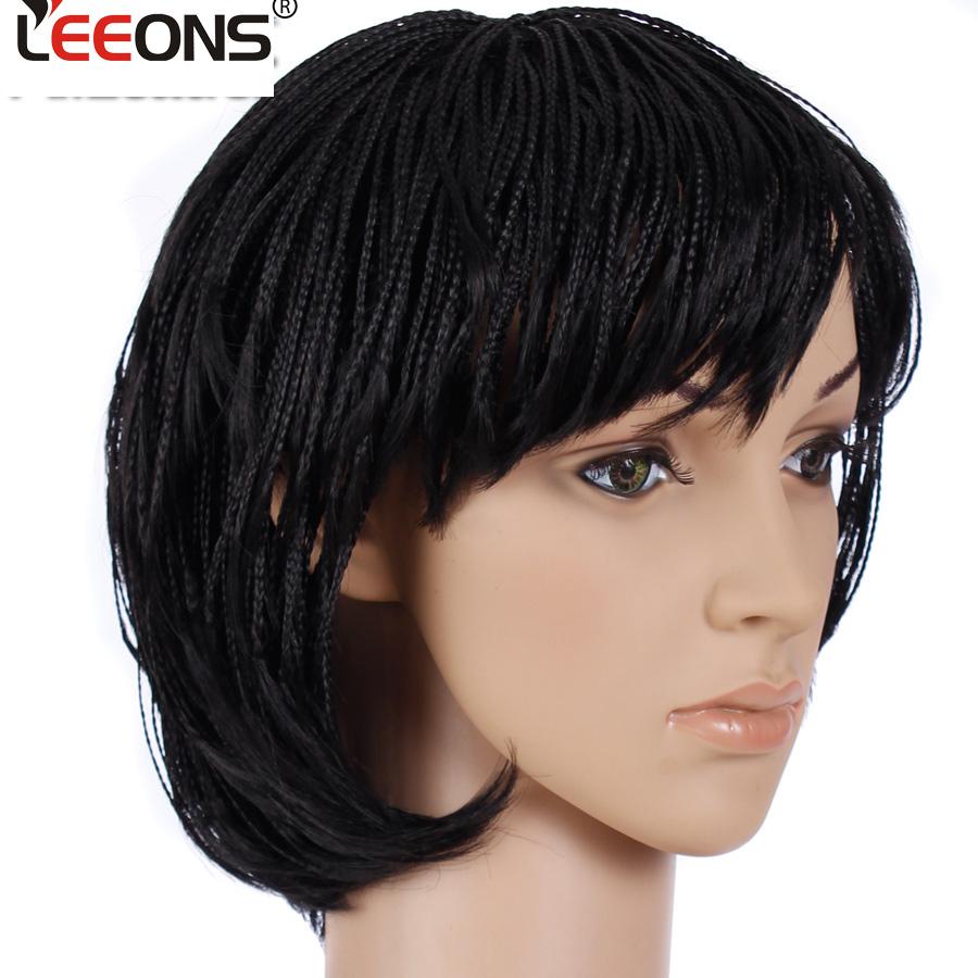 [해외]Leeons 짧은 밥 가발 땋은 상자 머리띠 WigBangs 흑인 여성을고열 합성 섬유 머리카락의 코스프레 헤어 땋은 가발/Leeons Short Bob Wig Braided Box Braids WigBangs High Heat Synthetic Fiber Ha