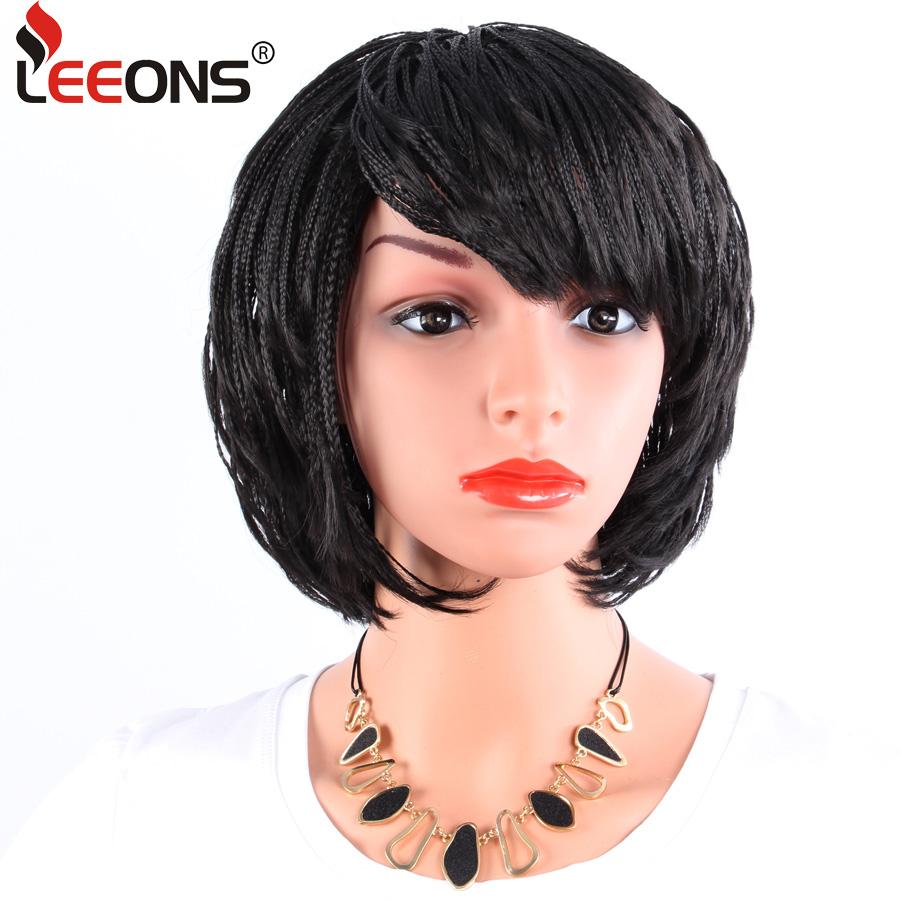 [해외]Leeons 12inch 짧은 머리 끈 가발 합성 머리 가발 아프리카 미국 여자 높은 온도 섬유 꼰된 WigBangs/Leeons 12inch Short Braids Wig Synthetic Hair Black Wigs for Africa America Woma