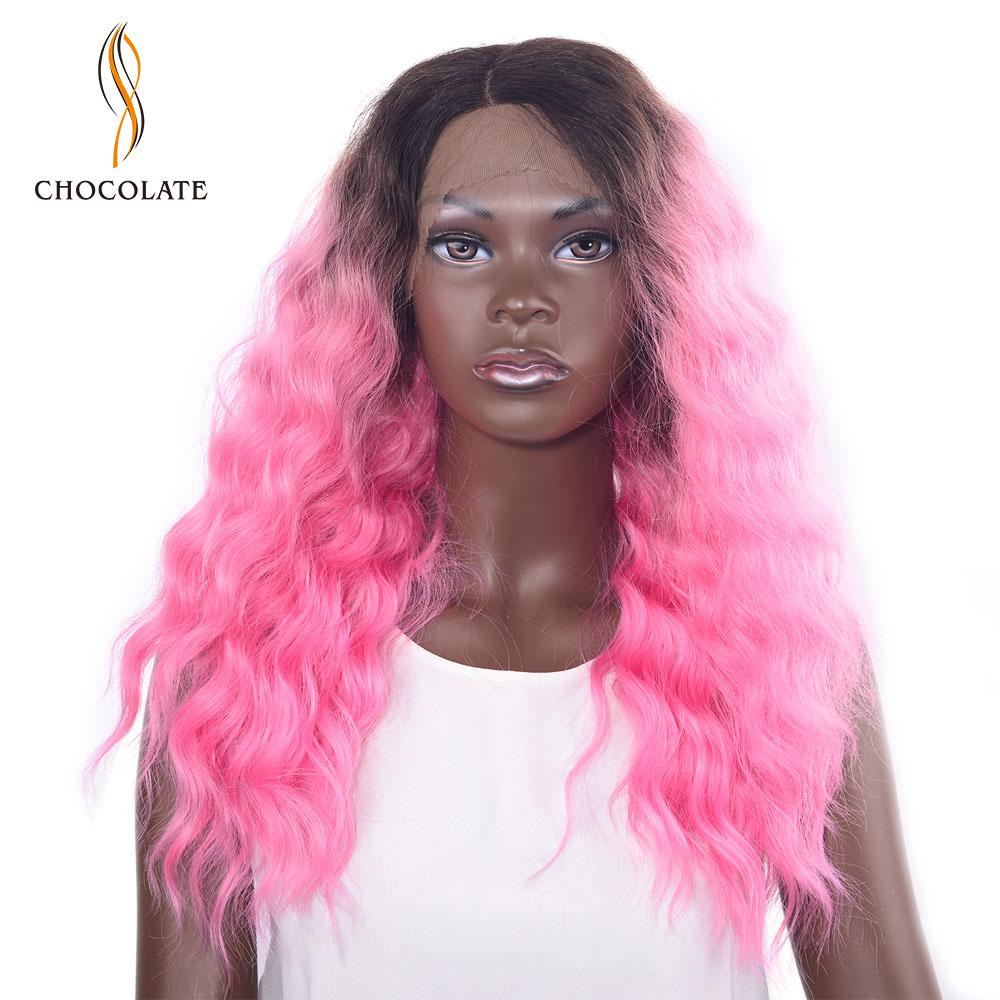 [해외]초콜렛 아프리카 계 미국인 합성 가발 16 & 핑크색 오른쪽 부분 여자를곱슬 레이스 프런트 가발 180 % 밀도/CHOCOLATE African American Synthetic Wig 16& Pink Color Right Part Curly Lace F