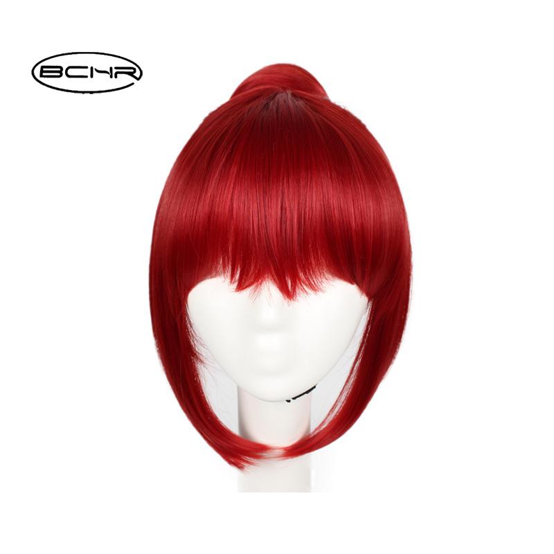 [해외]BCHR 짧은 와인 레드 코스 프레 내열성 합성 의상 여성용 가발/BCHR Short Wine Red Cosplay Heat Resistant Synthetic Costume Wig For Women