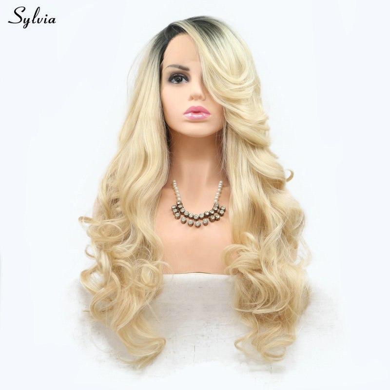 [해외]실비아 금발 가발 옹버 어두운 뿌리 여성을2 톤 내열성 긴 합성 머리 수제 레이스 프런트 가발 소녀 물결 모양 가발/Sylvia Blonde Wig Ombre Dark Roots Two Tone Heat Resistant Long Synthetic Hair Ha