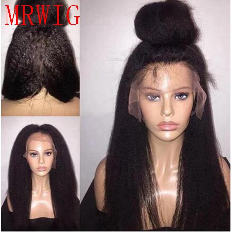 [해외]MRWIG 다크 브라운 / 블랙 변태 스트레이트 합성 프론트 레이스 가발 여성용 여성용 긴 머리 풀라 가발/MRWIG  dark brown/black kinky straight synthetic front lace wig free part long hair gl