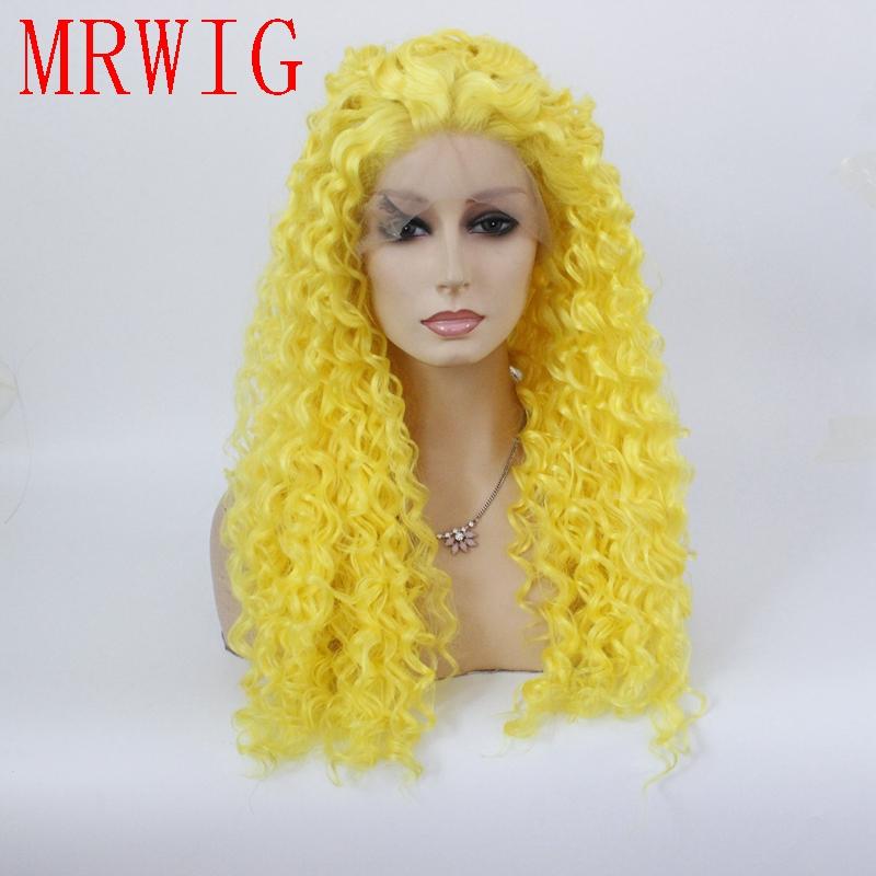 [해외]MRWIG 투명 레이스 노란색 긴 변태 둥근 합성 glueless 프론트 레이스 가발 26in 180 % 밀도/MRWIG transparent lace yellow long kinky curly synthetic glueless front lace wig for