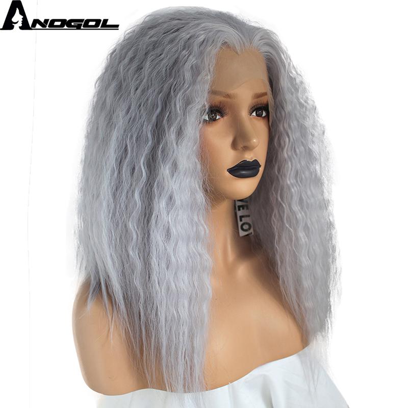 [해외]Anogol 고온 섬유 깊은 Peruca Cabelo 중간 물결 머리 가발 보라색 합성 레이스 프런트 가발 여성용 의상/Anogol High Temperature Fiber Deep Peruca Cabelo Medium Water Wave Hair Wigs Pu