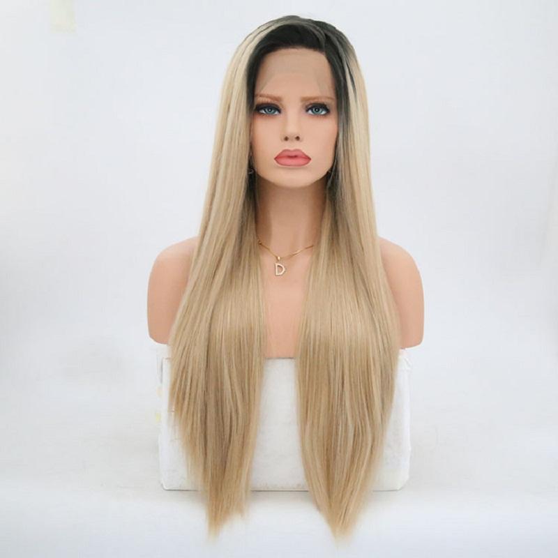 [해외]카리스마 24 인치 옹 브르 갈색 합성 롱 스트레이트 헤어 레이스 프론트 가발 여성을그루브 천연 헤어 라인 150 % 밀도/Charisma 24 Inch Ombre Brown Synthetic Long Straight Hair Lace Front Wigs Glu