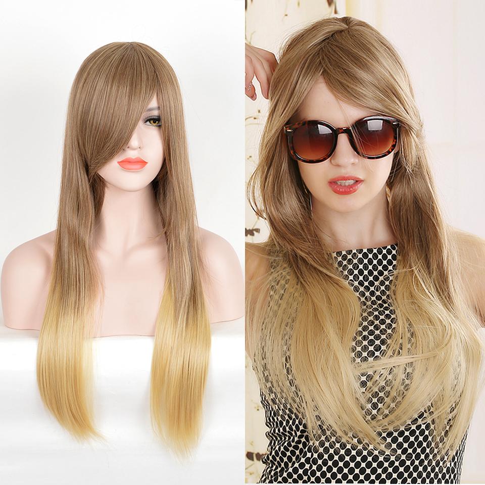 [해외]Xi.rocks 75CM 금발 갈색 긴 스트레이트 합성 가발 높은 온도 섬유 가발에 대 한 블랙 / 화이트 여성 곱슬 수 ./Xi.rocks 75CM Blonde Brown Long Straight Synthetic Wig High Temperture Fiber