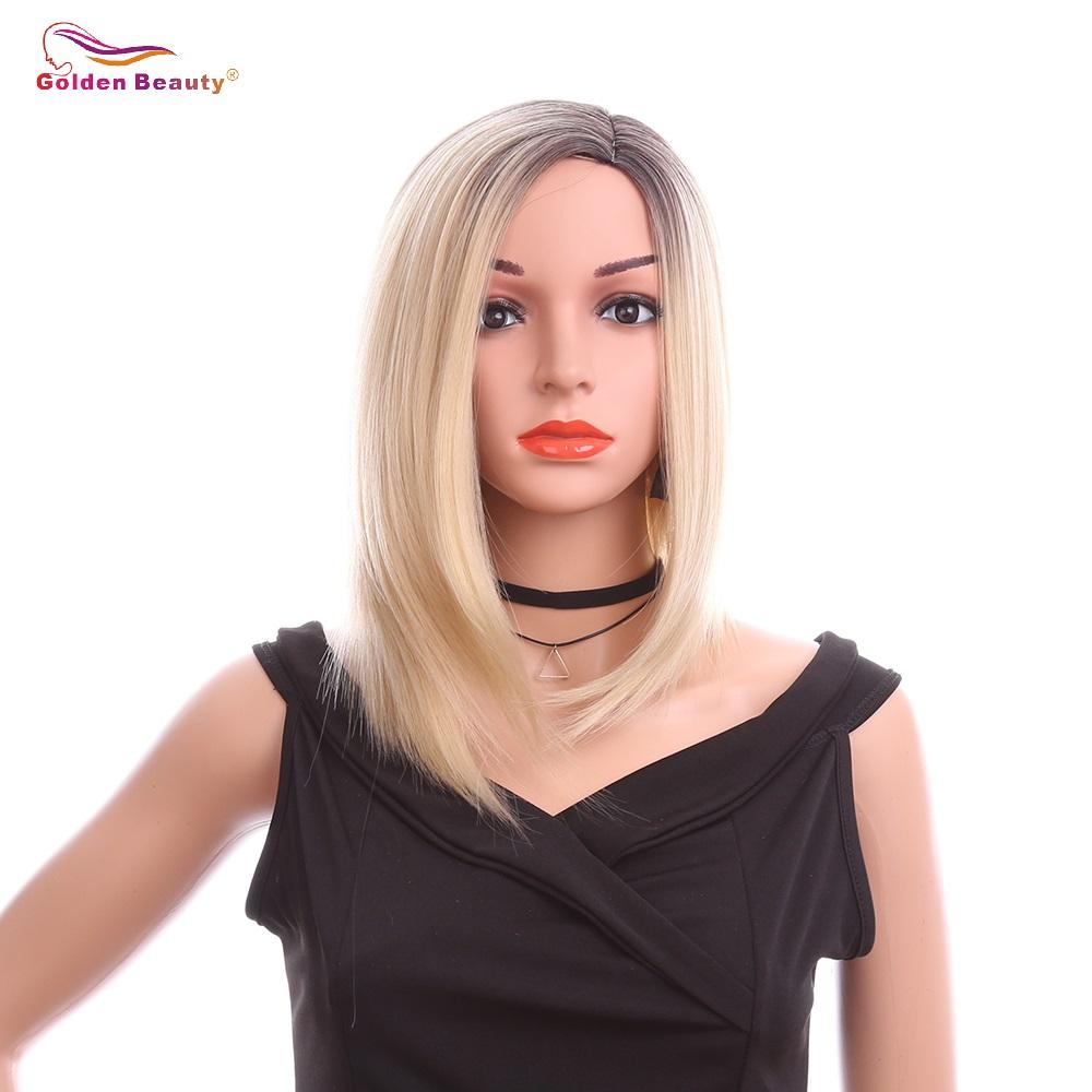 [해외]14 & 짧은 밥 스트레이트 합성 가발 여성 측면 부분 내열성 섬유 금발 옹 브래지어 가발 코스프레 황금빛 아름다움/14& Short Bob Straight Synthetic Wig For Women Side Part Heat Resistant Fiber