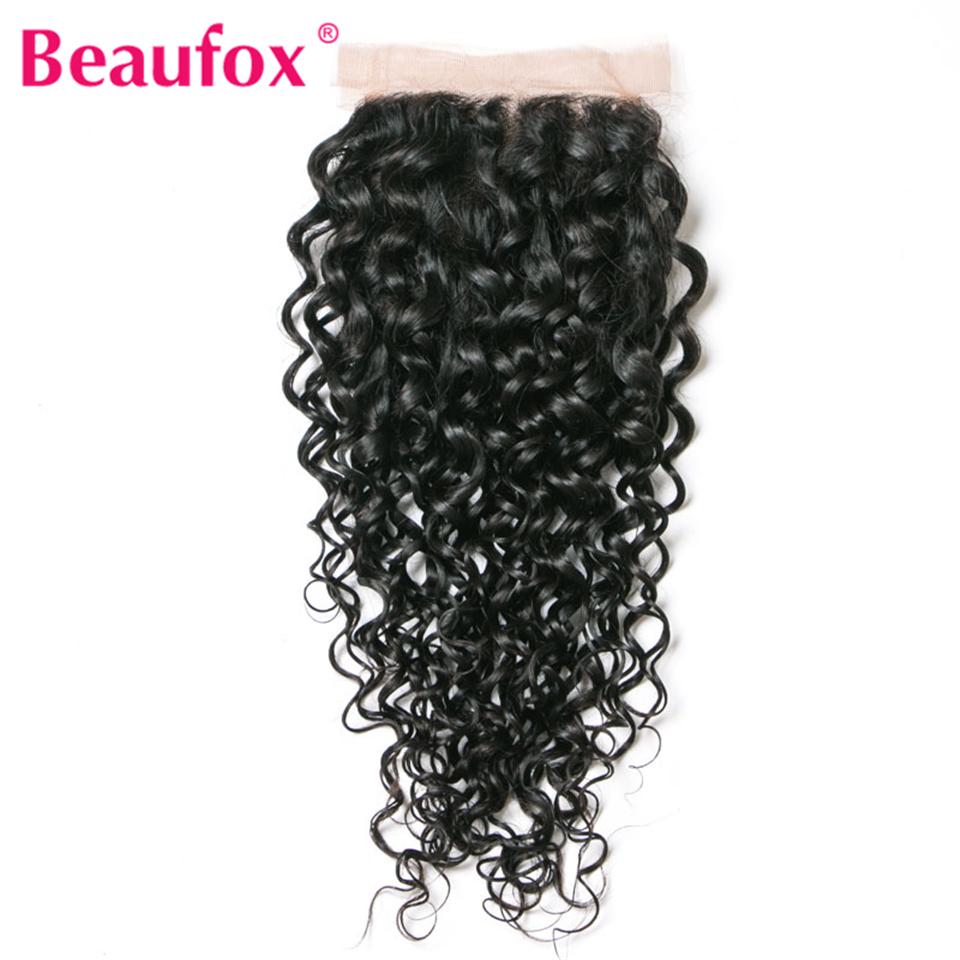 [해외]Beaufox 브라질 물 파도 레이스 폐쇄 4x4 100 % 인간의 머리 비 - 레미 무료 부분 중간 갈색 8-20 인치/Beaufox Brazilian Water Wave Lace Closure 4x4 100% Human Hair Non-remy Free Pa