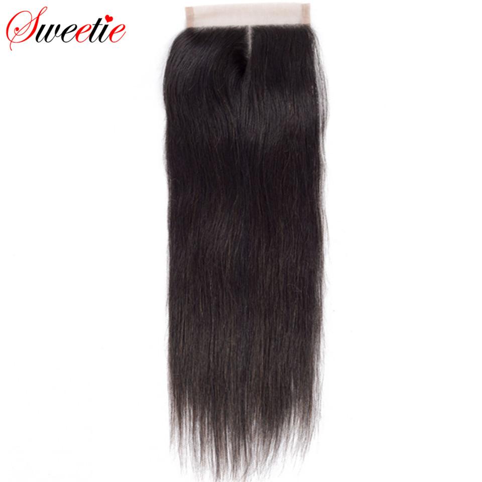 [해외]스위티 헤어 브라질 레미 헤어 스트레이트 4X4 레이스 클로져 130 % 밀도 100 % 인간의 머리 중간 부분 두꺼운 끝/Sweetie Hair Brazilian Remy Hair Straight 4X4 Lace Closure 130% Density 100%