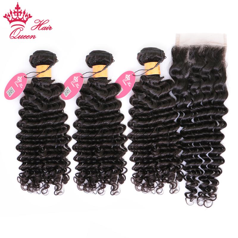 [해외]퀸 헤어 제품 100 % 인모 헤어 번들 클로져 인도 레미 헤어 딥 웨이브 3 번들 헤어 클로저 자연 색상/Queen Hair Products 100% Human Hair BundlesClosure Indian Remy Hair Deep Wave 3 Bundle