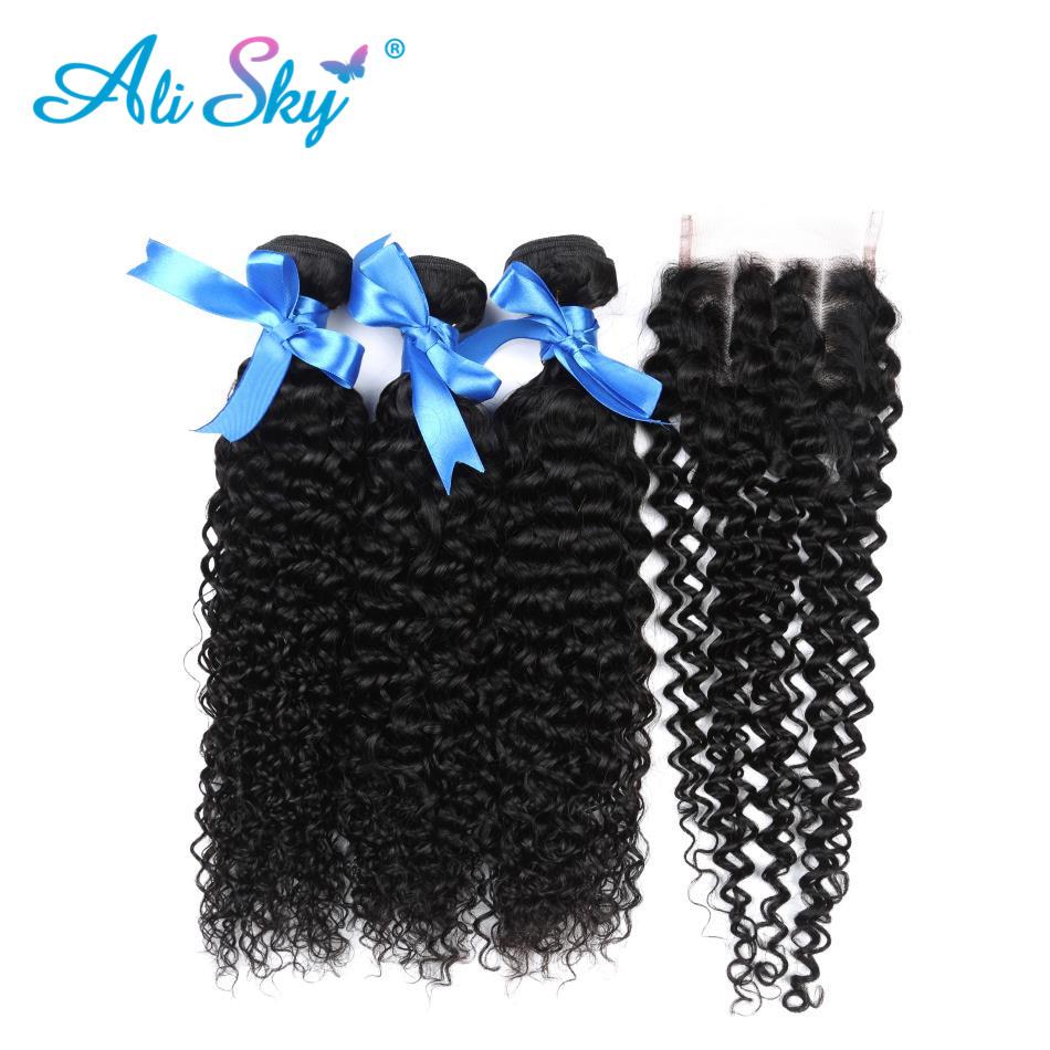 [해외]3 번들 페루 Afro Kinky CurlyClosure Pre PluckedBaby Hair Bouncy 컬 없음 흘림 얽힘 없음 레미 블랙 1b/3 Bundles Peruvian Afro Kinky CurlyClosure Pre PluckedBaby Hair