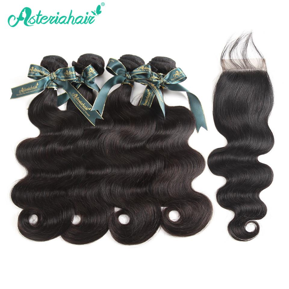[해외]Asteria Hair 4 PCS 말레이시아 바디 웨이브 헤어 번들 레이스 클로저 Natural Blcak Remy 100 % 인모 헤어 번들/Asteria Hair 4 PCS Malaysian Body Wave Hair BundlesLace Closure Na