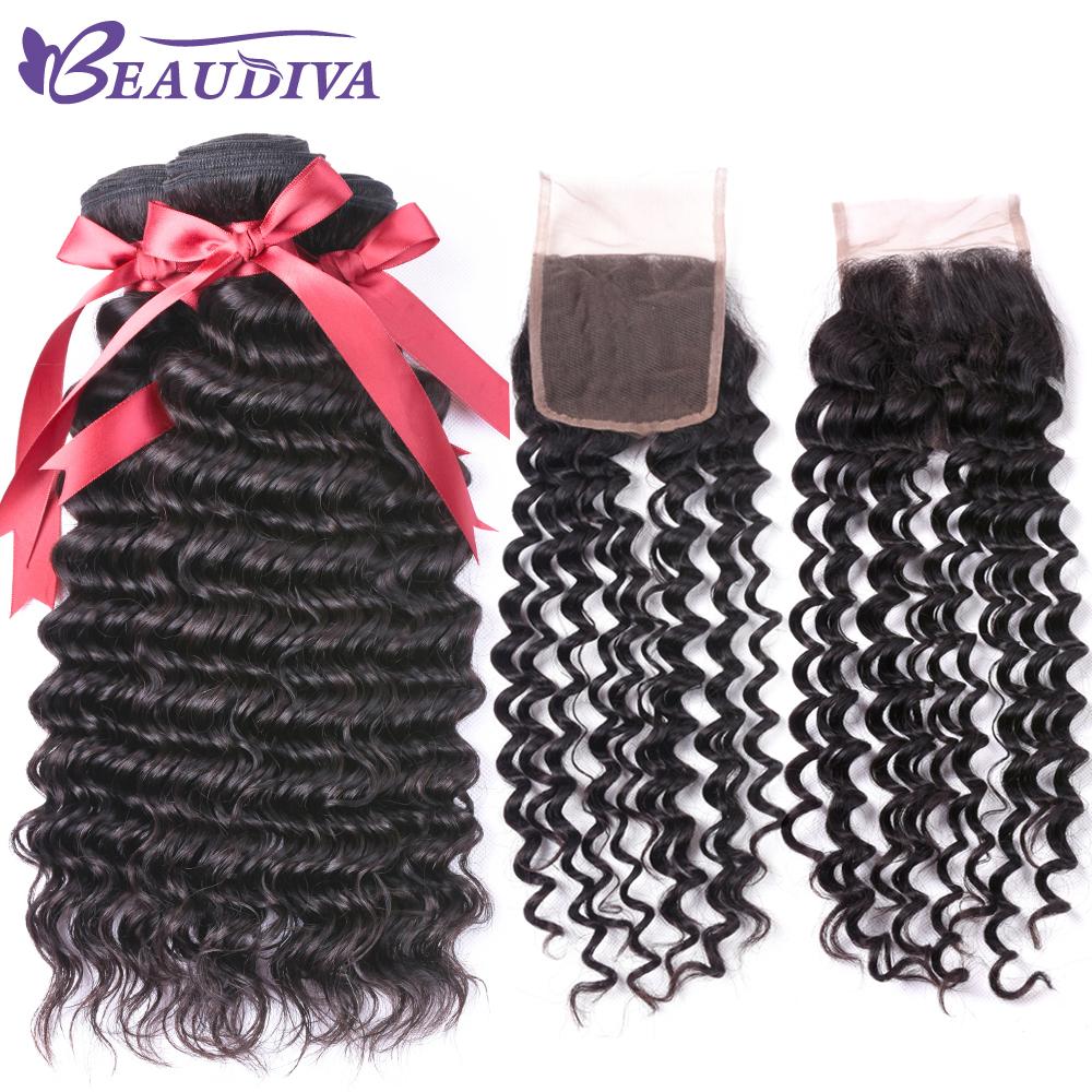 [해외]보 디파 페루 헤어 위브 모든 여성용 3 묶음 4 * 4 레이스 클로저 딥 웨이브 휴먼 헤어 번들 클로저 1B 색상/BEAU DIVA Peruvian Hair Weave For All Woman 3 Bundles4*4 Lace Closure Deep Wave H