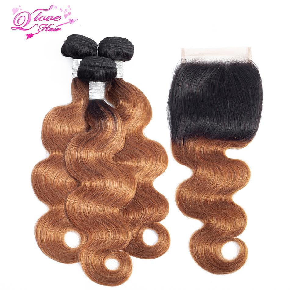 [해외]퀸 러브 헤어 3 번들 클로저 Ombre 말레이시아 스트레이트 헤어 블론드 번들 T1B 30 컬러 Dark Root Human Hair Weave/Queen Love Hair  3 BundlesClosure Ombre Malaysian Straight Hair
